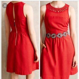 Anthropologie Maeve Red Lattice Neck Dress